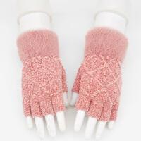半指手套女秋冬季�n版加厚保暖露指手套�W生打字��字半截手套冬天