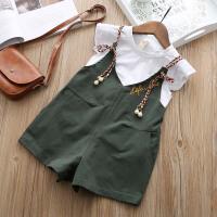 女童夏装套装2018新款韩版儿童上衣吊带连体裤两件套宝宝洋气套装