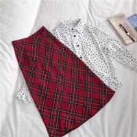 2019春季新品复古少女学院风红色格子半身裙高腰中长裙学生