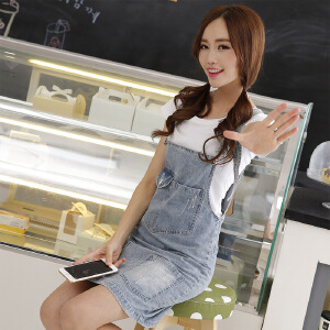 Modern idea新款牛仔背带裙韩版显瘦牛仔裙学生装连身裙