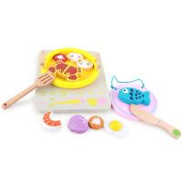 木制仿真电磁炉儿童火锅套装组宝宝早教益智过家家切切乐玩具