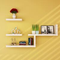 墙上置物架床头创意简易书架隔板墙面墙壁挂卧室背景墙体装饰一字隔板储物壁架家具用品加大加宽收纳架子