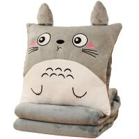 办公室午睡枕头车内抱枕被子两用暖手捂腰靠枕靠垫汽车毛毯三合一