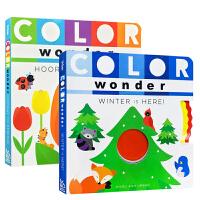 【全店300减100】英文原版2册学前低幼早教纸板书Color Wonder Hooray for Spring!春天的