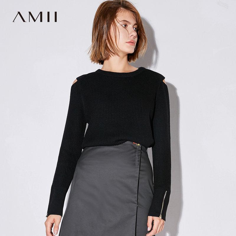 AMII秋装2018新款女纯色圆领长袖露肩拉链毛衣11743007.