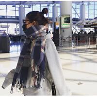围巾女秋冬季韩版休闲百搭长款双面加厚保暖英伦格子学生围脖冬天