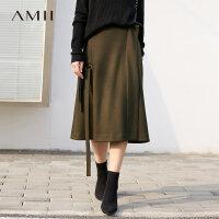 【到手价:251元】Amii极简港味现代感长飘带半身裙女2018冬装新款宽松搭片A字裙子