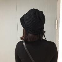 韩国潮帽子女秋冬百搭多色针织毛线帽光板保暖套头帽纯色蝴蝶结帽 M(56-58cm)