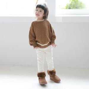复古风纯色百搭童毛衣新品童装毛衣拼色童毛衣上衣