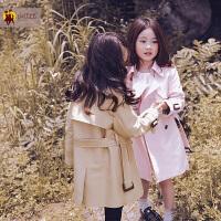 女童秋装外套2017新款秋款英伦风大衣儿童中大童双排扣中长款风衣