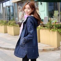冬季新款韩版牛仔棉衣女中长款加绒加厚大码宽松连帽外套显瘦 牛仔蓝 S