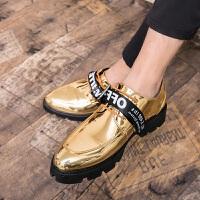 夏季男士增高皮鞋英伦套脚豆豆鞋漆皮亮面男鞋韩版潮流百搭发型师潮鞋