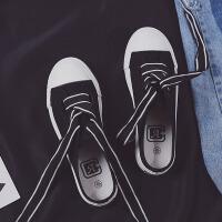 半拖鞋 女士复古港味低帮休闲鞋女式2019夏季新款chic韩风半托鞋子学生韩版纯色ins帆布鞋