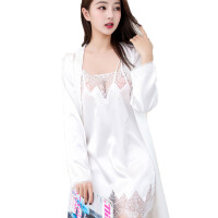 聚拢小胸长袖宽松吊带睡裙冰丝两件套性感睡衣女夏季套装