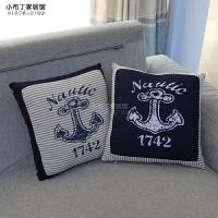 海风格创意条纹抱枕靠垫沙发飘窗床头汽车靠枕家居饰品含枕芯
