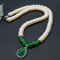 淡水珍珠项链配925银银玉髓吊坠45cm 女款近圆强光大气时尚 送妈妈礼物