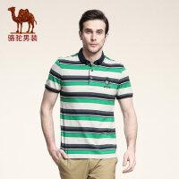 骆驼男装 夏季条纹衬衫领纯棉短袖t恤 男士POLO款商务休闲