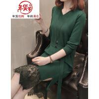 加大码女装秋冬韩版胖mm针织拼接蕾丝连衣裙200斤遮肚子T恤打底衫