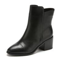 Fondberyl/菲伯丽尔 冬款牛皮圆头粗高跟短靴女鞋FB54113127