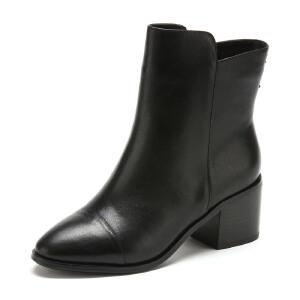 【3折到手价149.7元】Fondberyl/菲伯丽尔 冬款牛皮圆头粗高跟短靴女鞋FB54113127