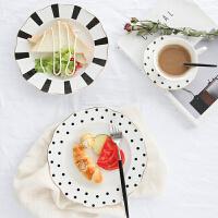 【双十一大促!1件3折】盘子 黑白复古风小清新陶瓷不规则金边早餐盘北欧ins波点欧式餐具水果宝宝辅食餐具厨房用品