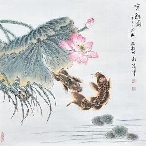 当代花鸟画家  郭双相《有余图》gh02803