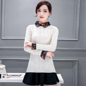 �莱2017春装新款娃娃领衬衫毛衣打底衫套头女装假两件