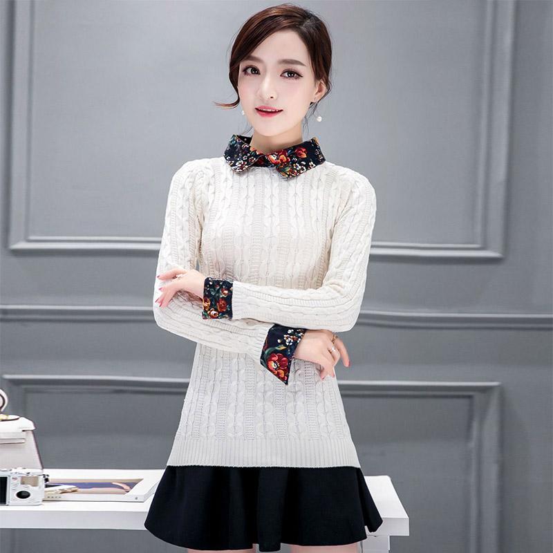苿莱2017春装新款娃娃领衬衫毛衣打底衫套头女装假两件