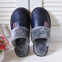 冬季羊皮真皮居家棉拖鞋男女情侣室内软底地板皮拖家用冬天防滑