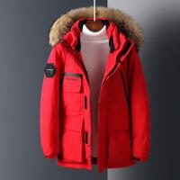 加拿大2018冬季户外工装情侣羽绒服男女士中长款毛领加厚潮外套鹅 红色 S