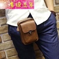 新品新款手机包韩版男士腰包皮质小包户外休闲迷你挂包皮烟包挂包 黑色 全场满手包