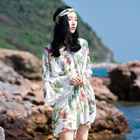 原创泰国巴厘岛沙滩裙裤海边度假波西米亚连体裤裙拼接雪纺印花连衣裙GH032 花色