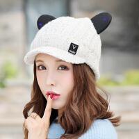 帽子女冬天秋冬季保暖英伦学生针织帽猫耳朵毛线帽