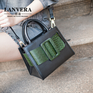【支持礼品卡】LANVERA 欧美时尚真皮女包 2017新款复古撞色牛皮小方包单肩手提包 L2019