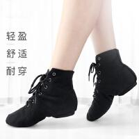 高帮帆布爵士靴儿童软底舞蹈鞋新款练功鞋女现代舞鞋芭蕾舞鞋