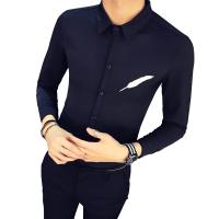 发型师修身衬衫男秋季韩版刺绣长袖衬衣青年夜店男装潮流衬衫新款