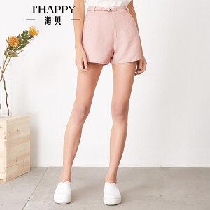海贝夏季新款女装休闲裤 简约纯色腰带收腰修身显瘦短裤