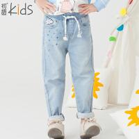 初语童装 冬装新款 女童牛仔裤 百搭纯色儿童牛仔裤T5318150032