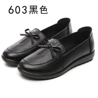 妈妈鞋单鞋春秋季软底中老年人皮鞋平底孕妇单鞋圆头浅口舒适