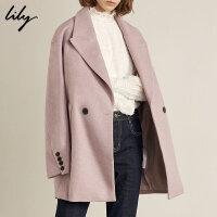 Lily春秋新款女装韩版宽松大廓形浅紫中长款毛呢大衣外套1916