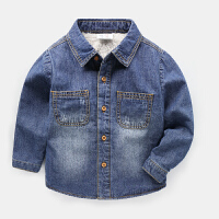 男童牛仔衬衫保暖秋冬装童装衬衣儿童宝宝上衣加绒外套
