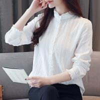 蕾丝花边木耳边立领白衬衫女长袖宽松显瘦秋装新款纯棉打底衫衬衣 白色