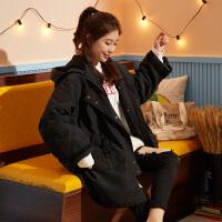 【直降价379元】唐狮冬季女连帽棉衣外套中长款东大门中长oversize加厚仿兔毛