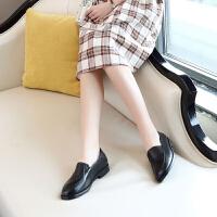 春真皮粗跟浅口高跟单鞋尖头职业工作鞋黑色中跟皮鞋上班工装女鞋