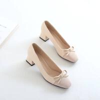 春秋季新款浅口中跟蝴蝶结套脚粗跟女单鞋韩版百搭时装工作女鞋子