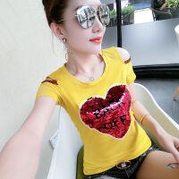 T恤女士短袖修身夏季韩版2019体恤女装露肩上衣服 黄色 漏肩爱心款