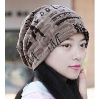 户外护耳帽男女款 字母加绒头巾帽 女士包头孕妇帽光头帽情侣帽
