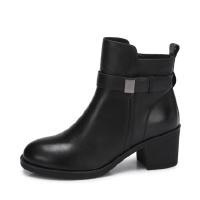 camel 骆驼女鞋 秋冬新款 经典复古黑色短筒靴 柔软舒适圆头女靴子