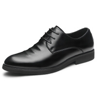品牌秋季男士商务皮鞋男黑色休闲内增高真皮正装韩版透气英伦潮流男鞋