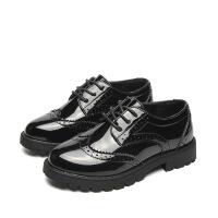 �和�皮鞋英��布洛克男童黑色�Y服皮鞋漆皮女童表演鞋舞�_演出鞋子 黑色